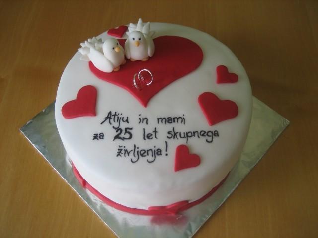Torta za 25 let poroke