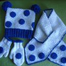 ročno pletena / kvačkana kapa, šal, rokavice