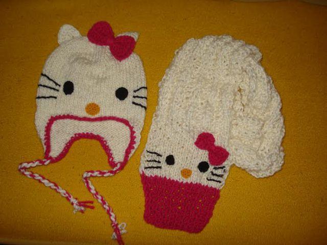 Ročno pletena kapa + šal Hello Kitty