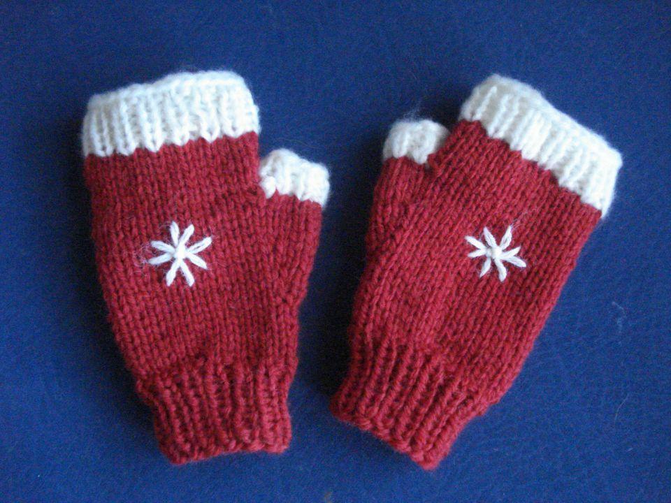 ročno pletene rokavice za Božič