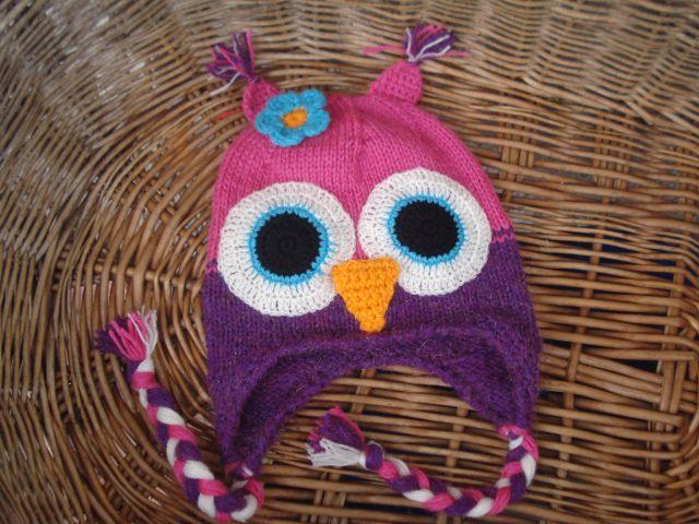 Ročno pletena kapa sova
