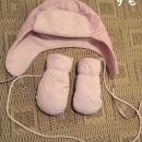 Komplet kapa in rokavice Roza 6-12 mes