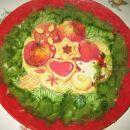Praznični krožnik:servetek,zelen in rdeč rižev papir...