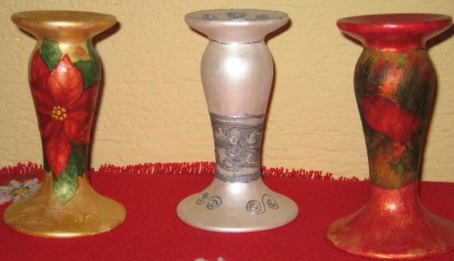 Svečnik ali če obrneš vazica:pobarvano z akrilno barvo,srevetek,kontura za steklo.