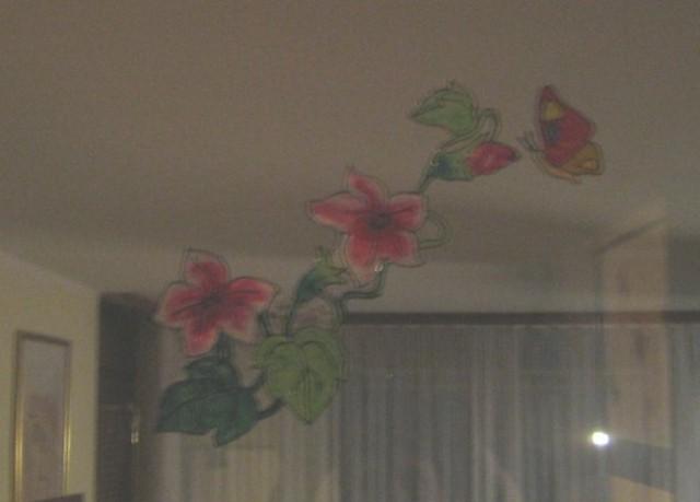 Malce slabši sliki ,metulji in rožice nad vrati v dnevni sobi in spalnici.