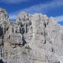 Mala špica (vidi se travnata terasa pod njenim vrhom, prek katere poteka pot Anita Goitan)