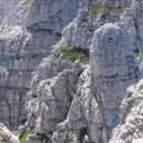 Mala špica z vrha Divje koze; levo pod njenim vrhom poteka južna varianta poti Anita Goita