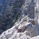Proti vrhu Luknje peči; midva sva tu sledila grebenu, morda je kakšna druga varianta lažja