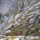 Oče in kolega med plezanjem v zgornjem delu Via Italiane; slikano z Mangrtskega sedla