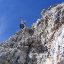 Plezanje v zgornjem delu ferrate Ettore Bovero na Col Rosà