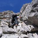 Eden težjih odsekov ferrate Ettore Bovero na Col Rosà