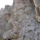 Ta stena je najstrmejši del ferrate z Visoke Ponce proti koči Zacchi