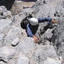 Plezanje s škrbine proti vrhu
