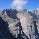 Martuljške gore z vzhodnega grebena Kukove špice; krnica v sredini je Amfiteater