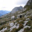 Povratek pod grebenom Loške stene nazaj proti sedlu Čez Brežice; v ozadju Stador