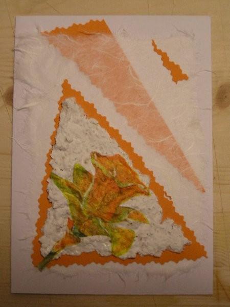 Trikotnik, na katerem je narcisa pa je narejena iz mase iz kuhinjskih brisač. Moja je bila