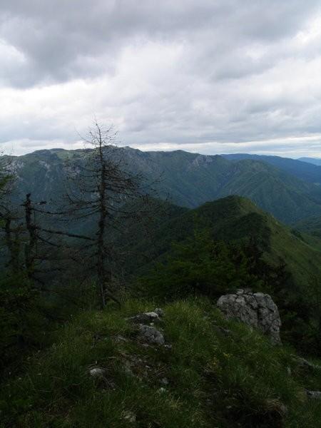 Z začetnega grebena stopam proti vrhu... zadaj Kamniški vrh...