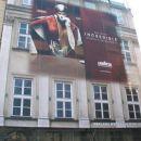 hiša oblečena v svojo sliko + reklama, med njeno obnovo.