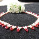 Swarovski verižica za poroko v belo-rdeči kombinaciji