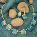 morska ogrlica z uhančki- perlice in fimo